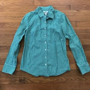 J Crew Gingham Button Down Blouse
